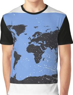 World map blue Graphic T-Shirt