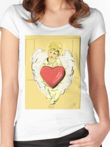 Angel Red heart Women's Fitted Scoop T-Shirt
