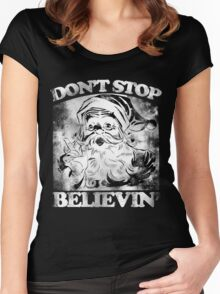 Don't stop believin' Santa Claus Christmas Women's Fitted Scoop T-Shirt