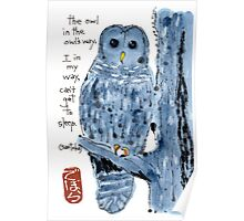 Barred Owl with Haiku Poster