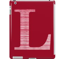 Letter L Red Watercolor Stripes Initial Monogram iPad Case/Skin