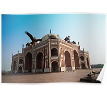 Hawk flying next to Humayun Tomb Delhi Poster