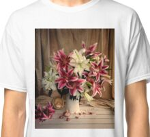 Pink and White Lilies with Garlic Still Life Classic T-Shirt