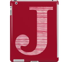 Letter J Red Watercolor Stripes Initial Monogram iPad Case/Skin