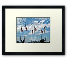 Flags And The Freedom Tower Framed Print
