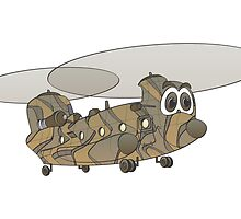 Chinook Helicopter Cartoon by Graphxpro