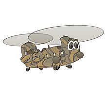 Chinook Helicopter Cartoon Photographic Print
