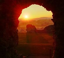 Denbigh Castle North Wales at Sunset by AnnDixon