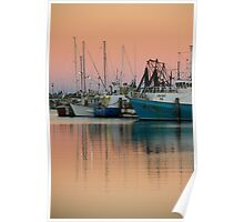 Fishing fleet at sunset Poster