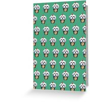 """Cherry on Pup"" Maltese Cake Pattern Green Greeting Card"