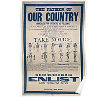 The father of our country appealed for soldiers as follows to all brave healthy able bodied and well disposed young men Poster