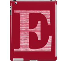 Letter E Red Watercolor Stripes Initial Monogram  iPad Case/Skin