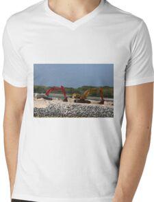 Two Bulldozers Mens V-Neck T-Shirt