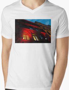 City Night Walks - the Red Facade Mens V-Neck T-Shirt