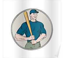 Baseball Player Batter Holding Bat Etching Poster