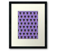"""Cherry on Pup"" Black Pug Cake Pattern Purple Framed Print"