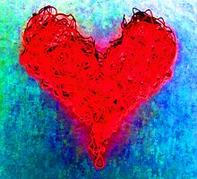 My heart is tangled up with thoughts of you (Red Neon) by Kellyanne