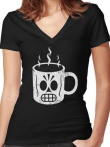 GRIM CAFE Women's Fitted V-Neck T-Shirt