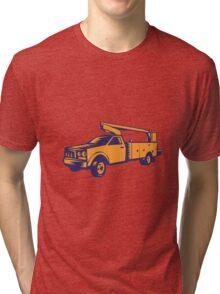 Cherry Picker Mobile Lift Truck Woodcut Tri-blend T-Shirt