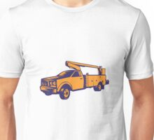 Cherry Picker Mobile Lift Truck Woodcut Unisex T-Shirt