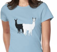 Black and White Llamas Womens Fitted T-Shirt