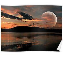 Orange Moon Over an Orange Lake Poster