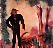 Man walkintg the woman in his life, watercolor by Anna  Lewis
