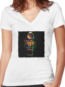 Sagat Street Fighter Tiger Women's Fitted V-Neck T-Shirt