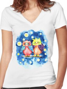 Two owls and a starry night Women's Fitted V-Neck T-Shirt