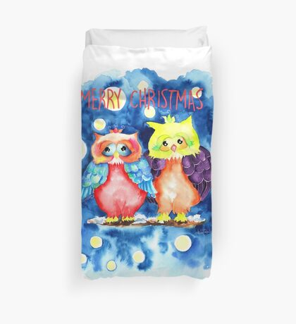 Two owls and a starry night Duvet Cover