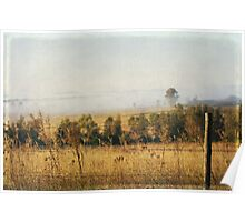 Foggy Hunter Valley fence Poster