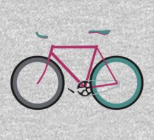 Simple Bike ~ Fixie Magenta Teal One Piece - Short Sleeve