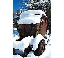 Snow covered rust Photographic Print