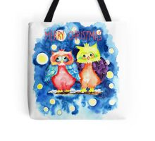 Two owls and a starry night Tote Bag