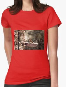 Winter Eurasian Tree Sparrow Womens Fitted T-Shirt