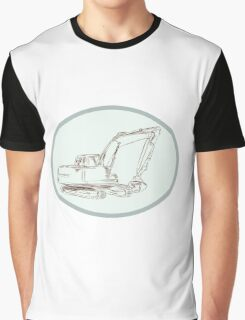 Mechanical Digger Excavator Oval Etching Graphic T-Shirt