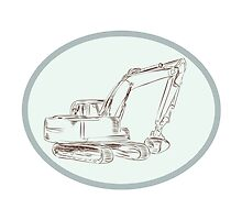 Mechanical Digger Excavator Oval Etching by patrimonio