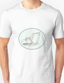 Mechanical Digger Excavator Oval Etching T-Shirt