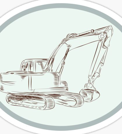 Mechanical Digger Excavator Oval Etching Sticker