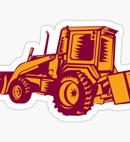 Mechanical Digger Excavator Woodcut Sticker