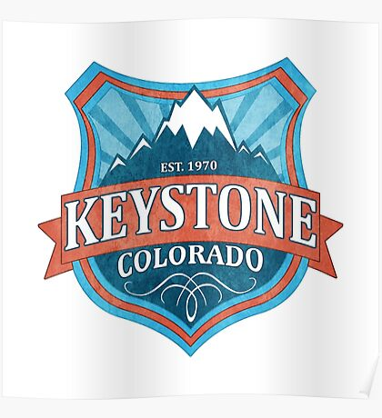 Keystone Colorado teal shield Poster