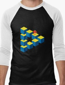 Q*bert - pixel art Men's Baseball ¾ T-Shirt
