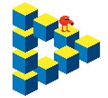 Q*bert - pixel art by galegshop