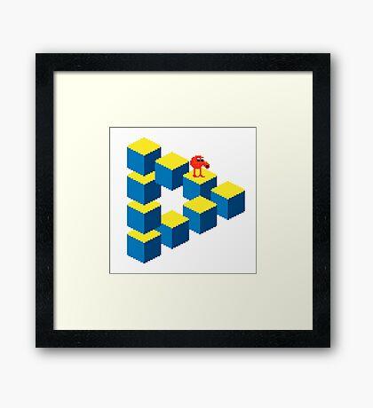 Q*bert - pixel art Framed Print