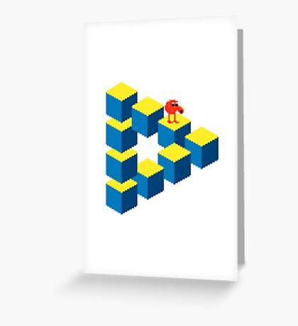 Q*bert - pixel art Greeting Card