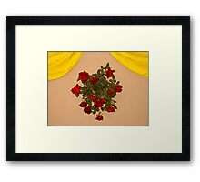 A bouquet of flowers mounted on a wall with yellow curtains Framed Print