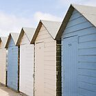Beach hut blues ~ Summerleaze Beach, Cornwall, UK by Zoe Power