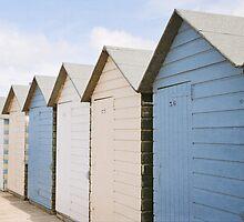 Beach hut blues ~ Summerleaze Beach, Cornwall, UK by Zoe Power