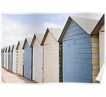 Beach hut blues ~ Summerleaze Beach, Cornwall, UK Poster