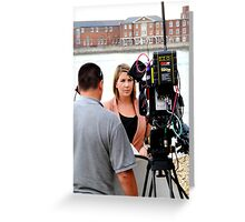 BBC news reporter on location Greeting Card